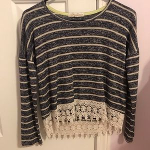 Striped long sleeve with lace